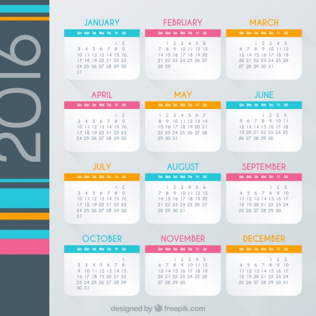 Vektörel 2016 Renkli Aylık Takvim