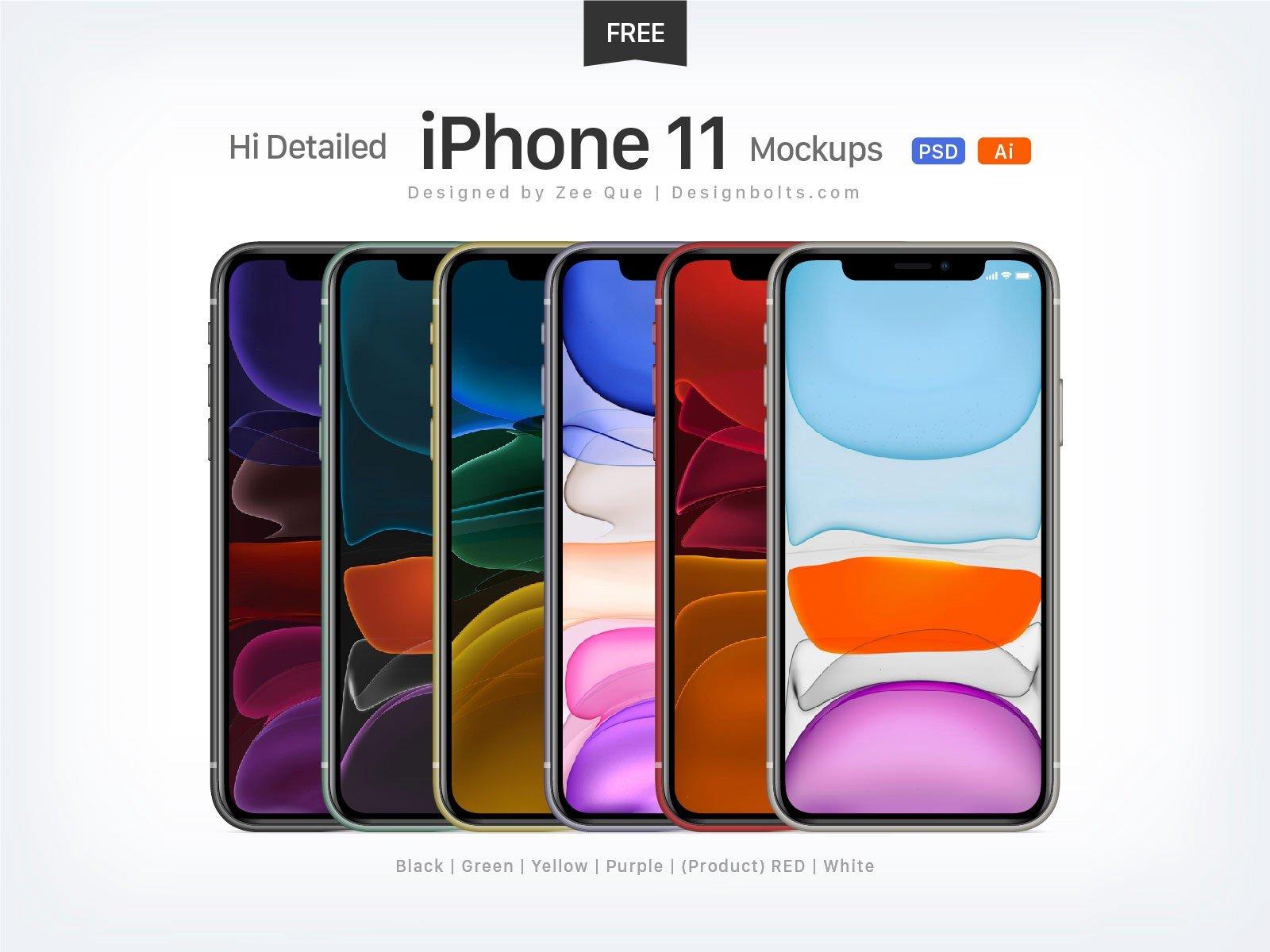 PSD - AI iPhone 11 Mockup