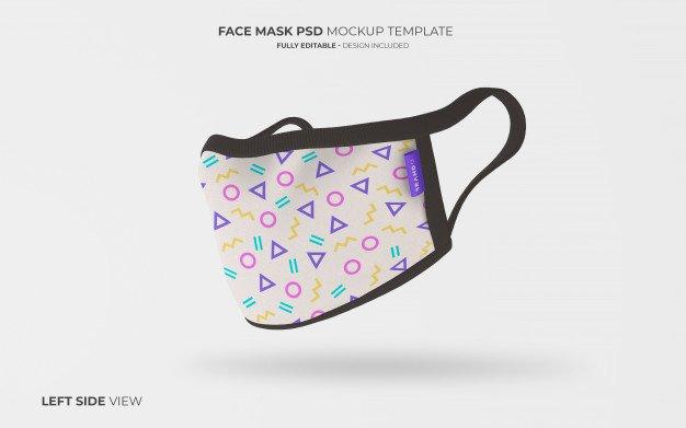 PSD Virüs Maskesi Mockup Soldan Görünüm