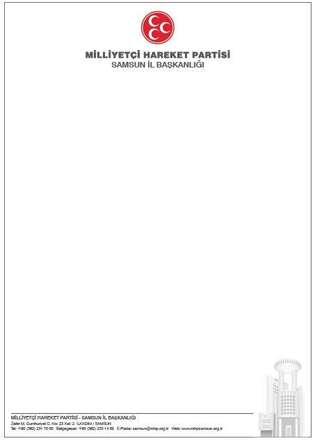 Samsun MHP Antetli - Başlıklı Kağıt Örneği