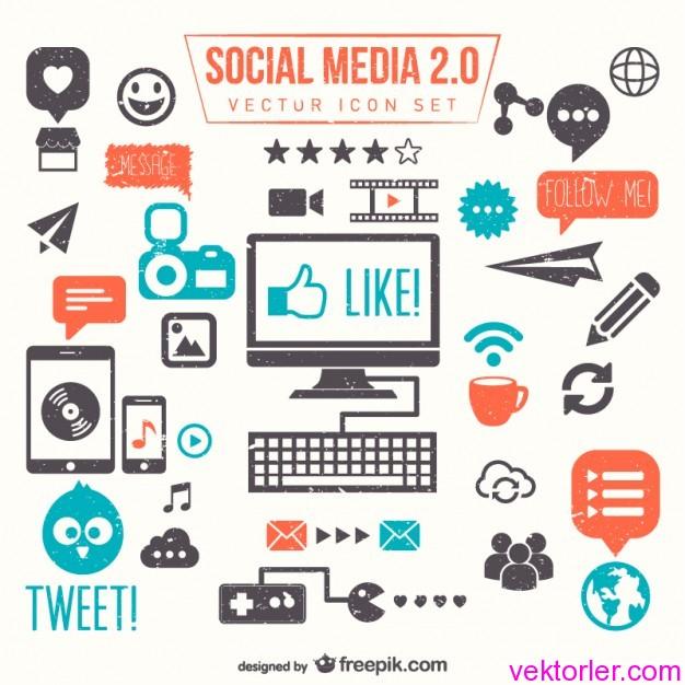 Vektörel Sosyal Medya Seti 2.0