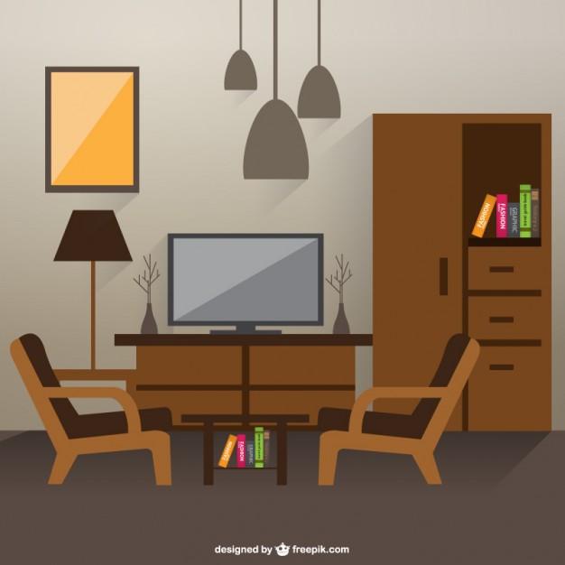 Vektörel Ahşap Tv Odası
