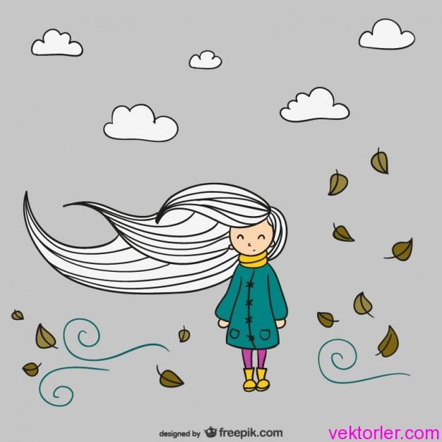 Vektörel Rüzgarda Saçı Dalgalanan Kız