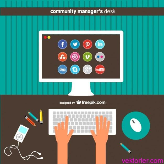 Vektörel İletişim Merkezi Sosyal İkonlar