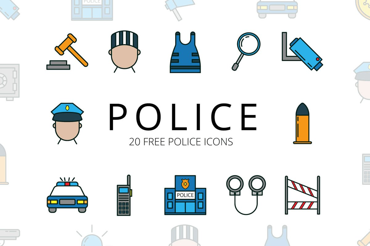 Vektörel 20 Ücretsiz Polis İkon Seti