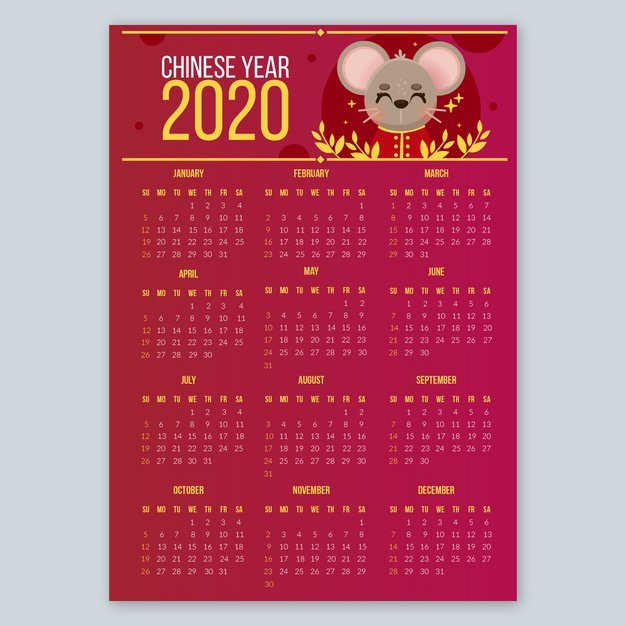 Vektörel 2020 Fareli Takvim Tasarımı