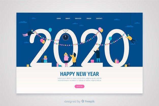 Vektörel 2020 Landing Page Çizimi