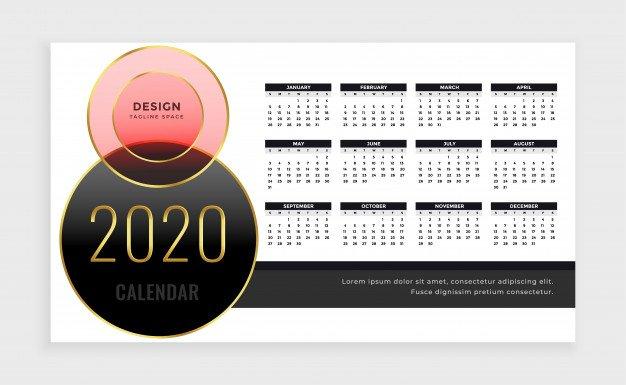 Vektörel 2020 Masa Takvimi Tasarımı