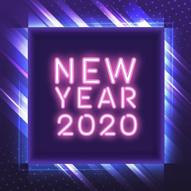 Vektörel 2020 Neon Yazı