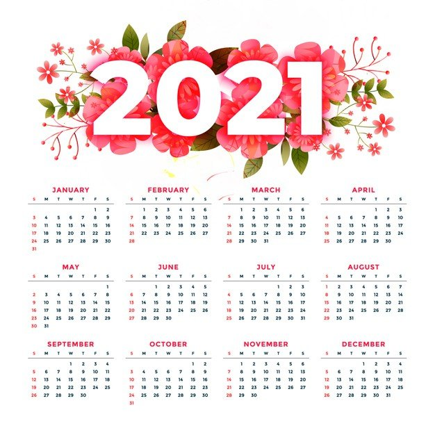 Vektörel 2021 Çiçekli Takvim Tasarımı