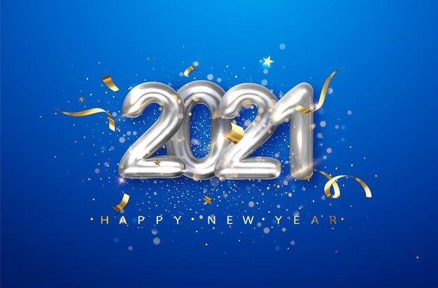 Vektörel 2021 Konfeti Süsleme Mavi