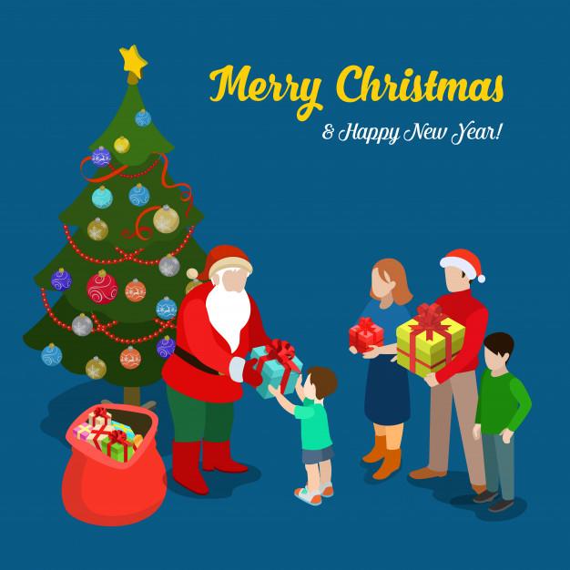 Vektörel Hediye Veren Noel Baba