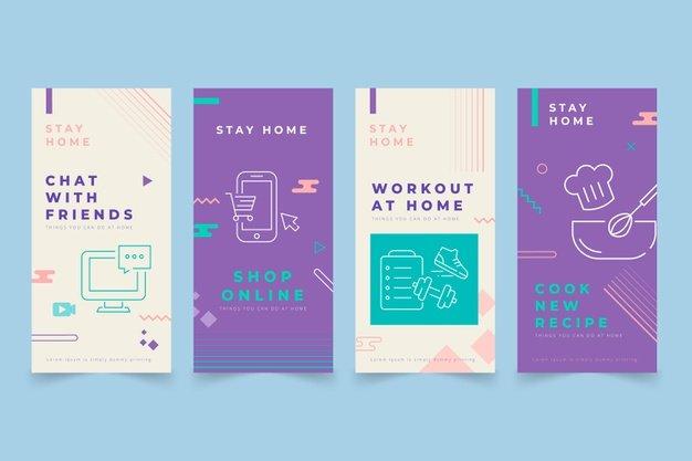 Vektörel Instagram Evde Kal Tasarımı