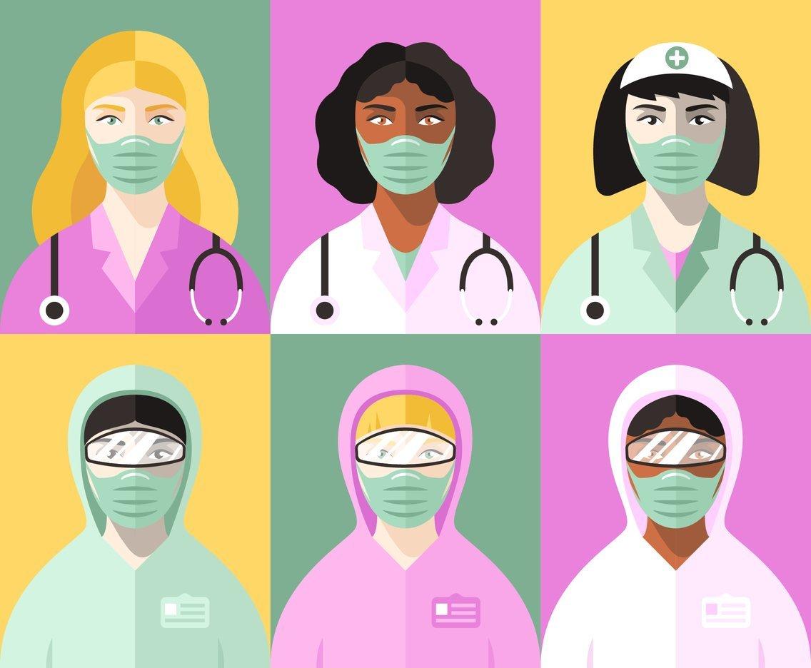 Vektörel Kadın Sağlık Çalışanları