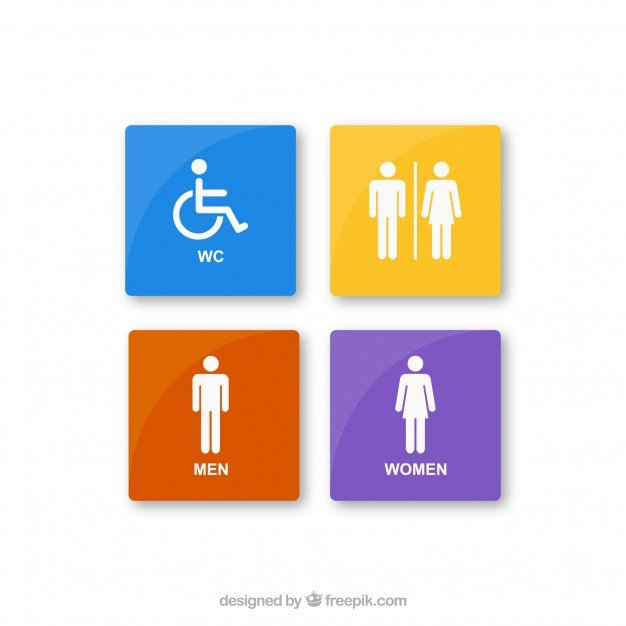 Vektörel Renkli Tuvalet Yönlendirme Levhası