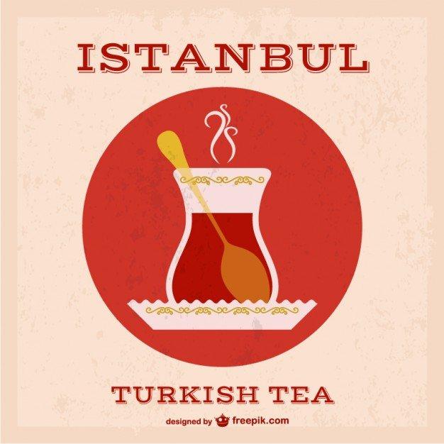Vektörel Türk Çayı ve Bardağı