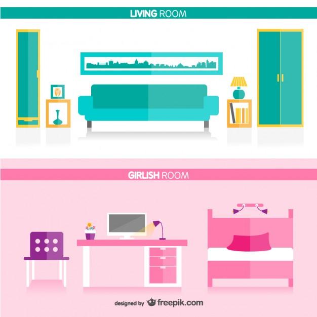 Vektörel Oturma Odası ve Kız Odası