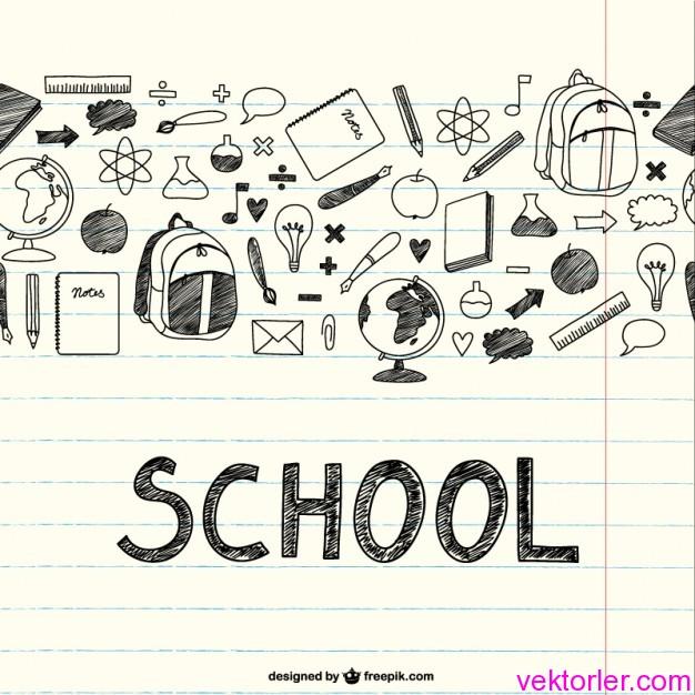 Vektörel Çizim Okul İkonları