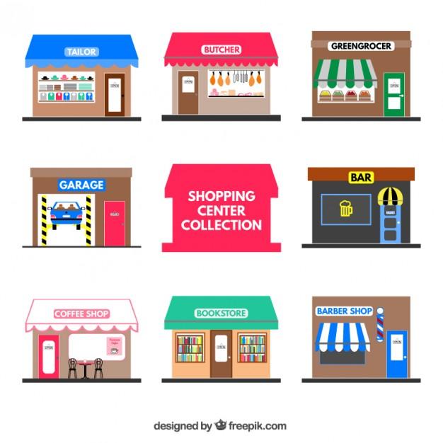 Vektörel Alışveriş Mağazaları Çizimi