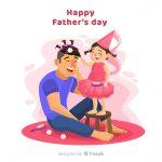Vektörel Eğlenen Baba ve Kızı