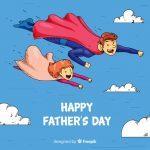 Vektörel Süper Kahraman Baba ve Kızı